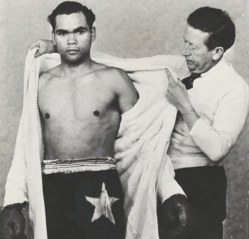 Australian boxer Dave Sands with his manager, Tom Maguire, Sydney, ca. 1950 (Image: National Library of Australia)
