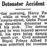 Detonator accident, Victoria Street, Glebe Point, 30 November 1919.