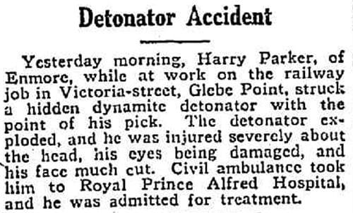 Detonator accident, Victoria Street, Glebe Point, 30 November 1919.