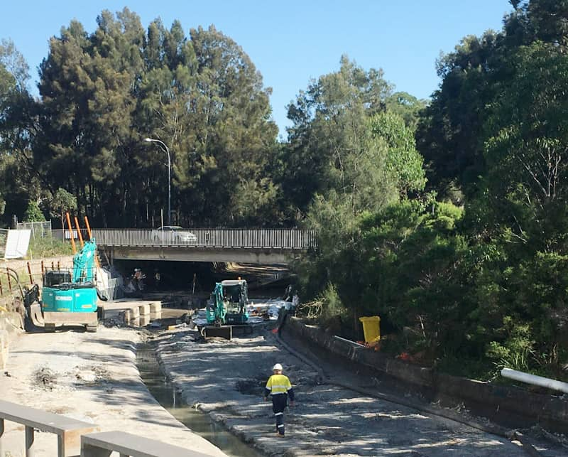 Sydney Water's naturalisation of Johnstons Creek canal is now underway near The Crescent's road bridge (photo: Andrew Wood).