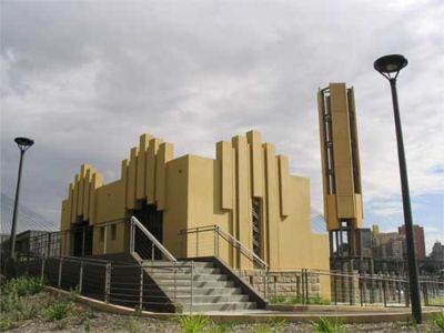 The restored Walter Burley Griffin incinerator in the new foreshore park at the foot of Forsyth Street, Glebe. Picture: Adrienne Kabos, WBG Society
