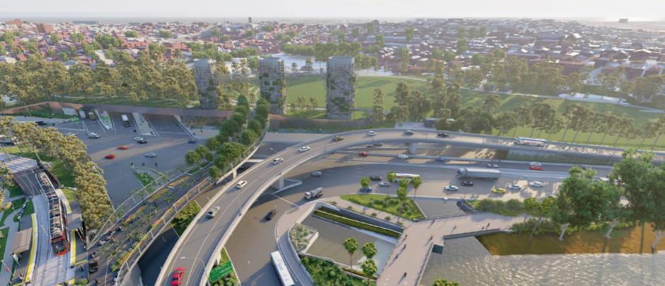 Digital image of the Rozelle interchange