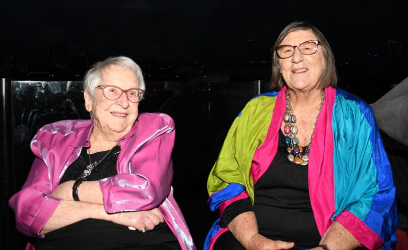 Jeanette Knox and Edwina Doe looking exceptionally colourful at the Sunset Soirée (photo: Phil Young)
