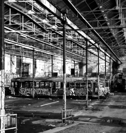 An old tram rusts quietly in the arold Park tramsheds (Photo by Bruce Davis)
