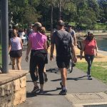 The Glebe Foreshore walk is busier than usual during the COVID-19 restrictions