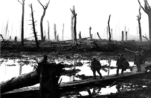 A detail from the cover of Rod Holtham's Glebe and the Great War, depicting Chateau Wood Ypres in 1917 (Image: Frank Hurley, former student of Glebe Public School)